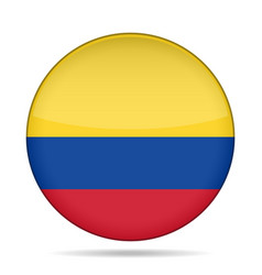 Flag of Colombia Shiny round button vector