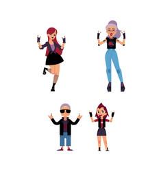 Flat elderly young rock women set vector