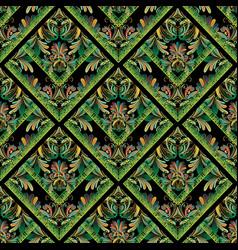 Floral seamless pattern greek key meanders vector