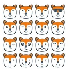 Fox emotional emoji square flat faces icon vector