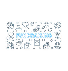 Fundraising concept outline horizontal vector
