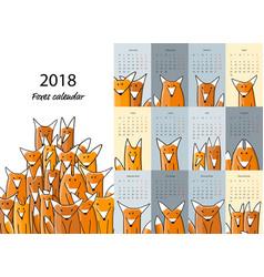 funny foxes calendar 2018 design vector image