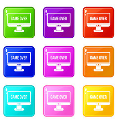 Game over icons 9 set vector