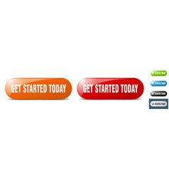get started today button key sign push button set vector image
