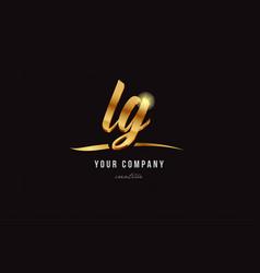 gold alphabet letter lg l g logo combination icon vector image