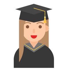 graduate woman icon profession and job vector image