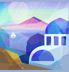 Greece landscape in low poly geometric style vector