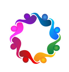 group hugging team people logo vector image