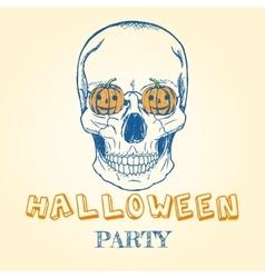 Halloween doodle - skull and pumpkins vector image