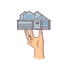 hand is holding house vector image