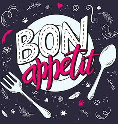 Hand lettering expression - bon appetit - on a vector