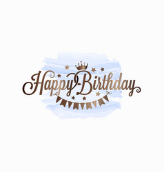 happy birthday watercolor card on white background vector image