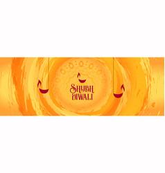 Happy diwali orange watercolor greeting vector
