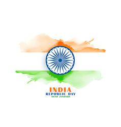 Happy republic day india watercolor flag vector