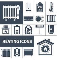 Heating flat icon set vector