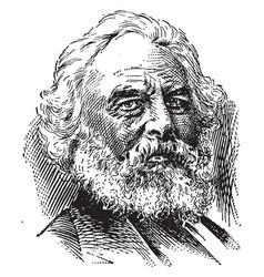 Henry wadsworth longfellow vintage vector