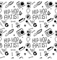 Hip hop artist hip hop doodle pattern with rap vector
