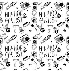 hip hop artist hip hop doodle pattern with rap vector image