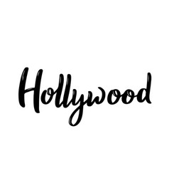 hollywood letteringblack and white handwritten vector image