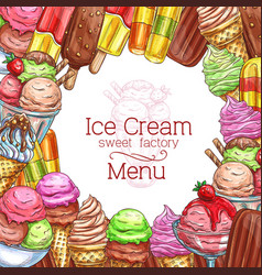 Ice cream desserts sketch menu poster vector