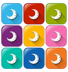 Icons with moons vector
