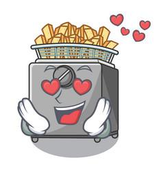 In love cooking french fries in deep fryer cartoon vector