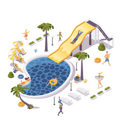 Isometric aqua park concept scene with people vector