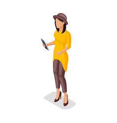 Isometric girl young people gadgets vector