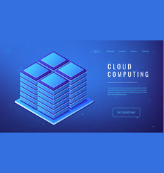 Isometric server farm cloud computing concept vector