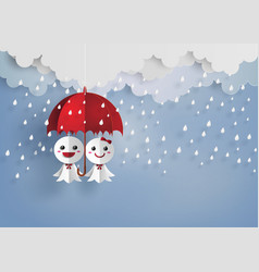 japanese paper doll against rain teruterubozu vector image