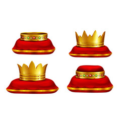 king or queen headwear realistic collection vector image