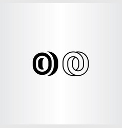 letter o black icon logo elements vector image