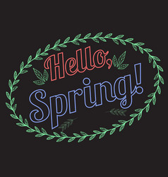 lettering hello spring with a pattern of leaves vector image