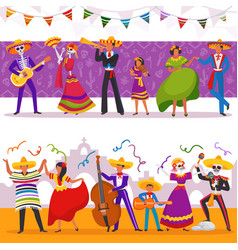 Mexican party people vector