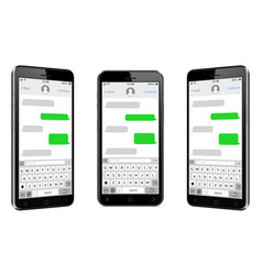 mobile phones different views with sms chat screen vector image
