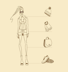 model-accessories-sketch vector image