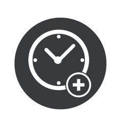 Monochrome round add time icon vector