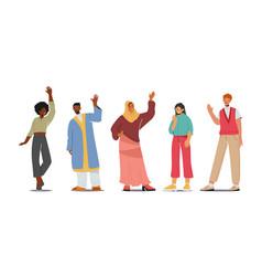 Multinational people waving hands happy young vector
