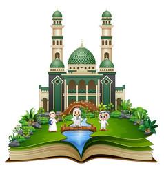 open book with happy muslim kids cartoon in front vector image