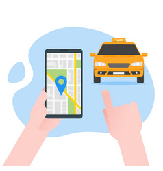 ordering online taxi on smartphone flat carton vector image