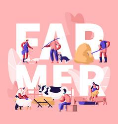 people doing farming job concept farmer vector image