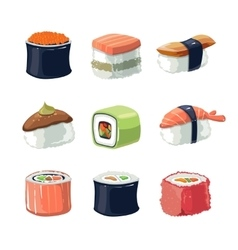 Picture set sushi rolls food vector