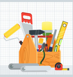 poster with construction tools vector image