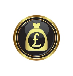 pound in bag icon button gold copy vector image
