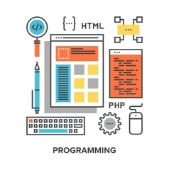 programming flat line concept vector image
