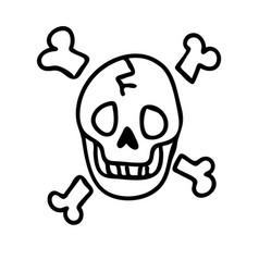 Punk rock skull monochrome lineart vector