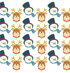 Reindeer and snowman background design vector image