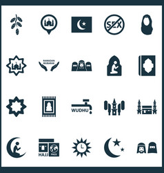 Religion icons set with people prayer azan vector