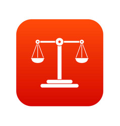 scales balance icon digital red vector image