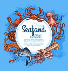 Seafood and fish crab salmon shrimp squid vector
